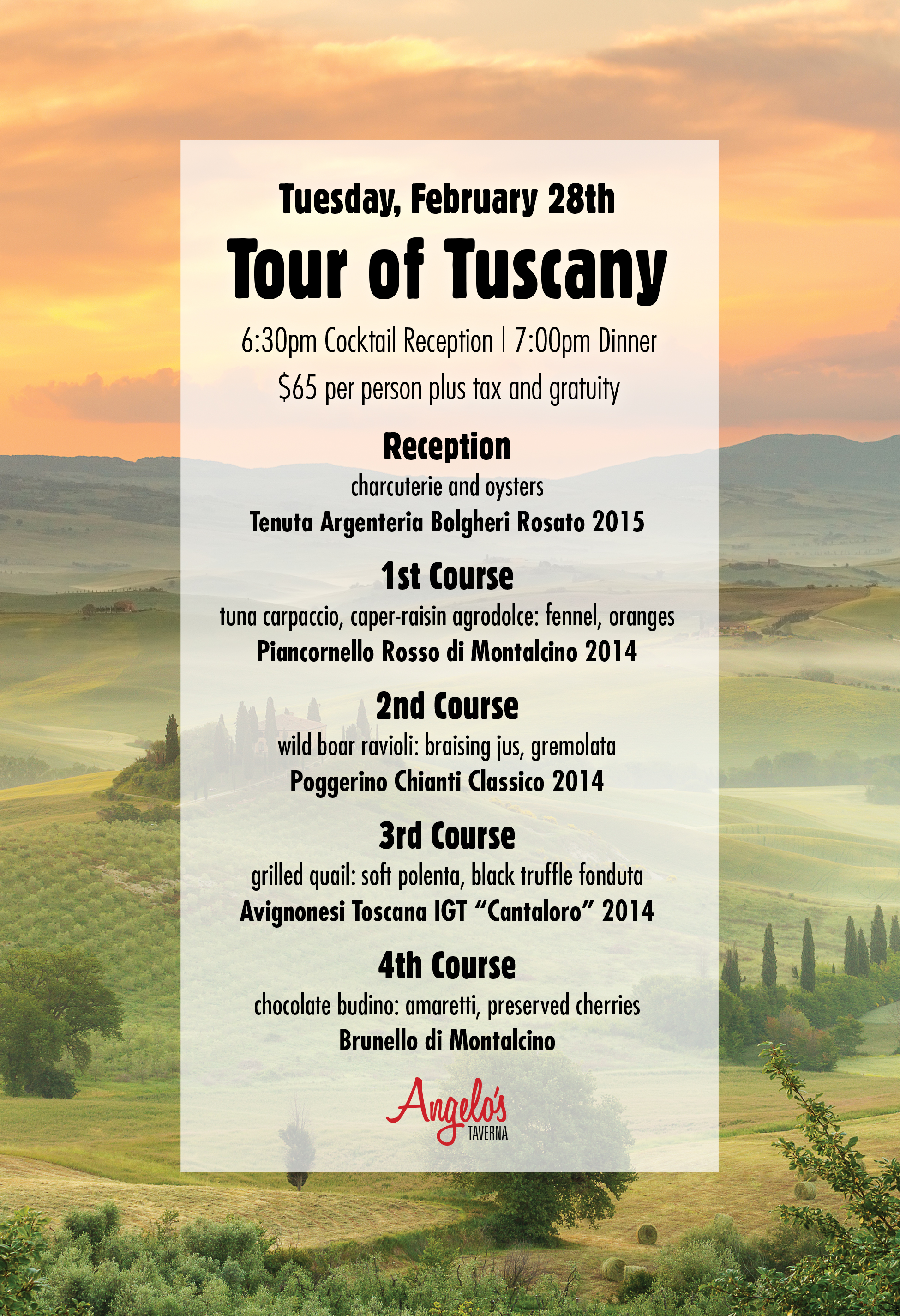 Tour of Tuscany menu Facebook
